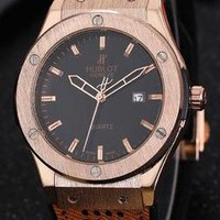 HUBLOT men and women fine fashion watch F-PS-XSDZBSH Coffee wristwatch + gold case + black dial