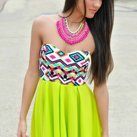 Lime in the Coconut Bright Aztec Strapless Dress