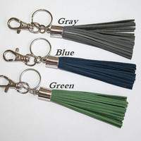 Leather Tassel Key Ring silver clasp, Mens Accessory, Blue Gray Green - choose, Bag Accessory, Christmas Gift to Him, Father Dude Gift idea