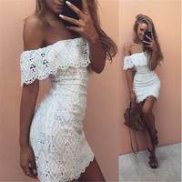 Off Shoulder Lace Hollow Sexy Short Dress