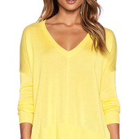 John & Jenn by Line Pax V Neck Pullover in Yellow
