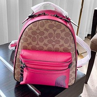 Coach Double Backpack Coach Double Luster Hardware LOGO Rose red