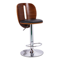 Black Leatherette and Walnut-Color Wood Bar Stool with Vertical Cut Out