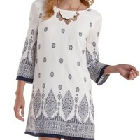 White Combo Border Print Low-Back Shift Dress by Charlotte Russe