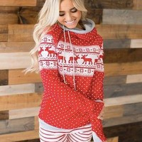 Red Nordic Christmas Sweater Print 2-Hood Sweatshirt