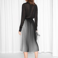 & Other Stories | Striped Pleats Skirt | Black