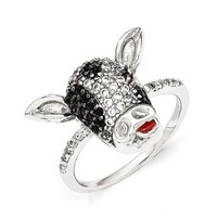 Cheryl M Sterling Silver Enameled Black And White CZ Cow Ring