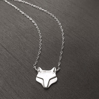 "Silver Fox Pendant, Fine Silver (.999%), Sterling Silver, 17"" Chain Necklace, Modern Style, Spirit Animal, Handmade Jewelry, Gifts for Women"