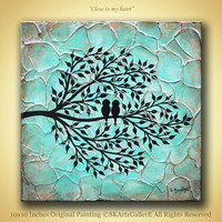 Love birds on tree Modern abstract heavy textured Original Acrylic Painting Aqua teal blue brown Canvas art Home Rustic wall artwork decor