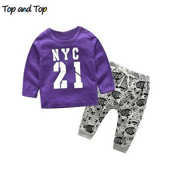 Baby boy clothes baby clothing set fashion cotton long sleeve Letter T-shirt Pants born baby girl clothing set