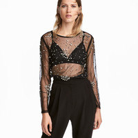 Beaded Mesh Top - from H&M