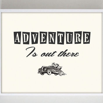 Adventure is Out There Quote Print Inspirational Poster Travel Print Typography Retro Poster 1950s Rockabilly