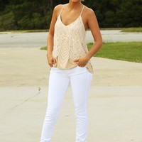 New Perspective Tank: White/Nude