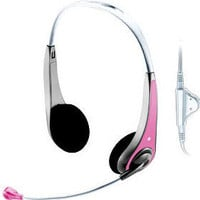 NEW PINK INSONIC CHAT HEADSET HEADPHONES & MICROPHONE WITH INLINE VOLUME CONTROL