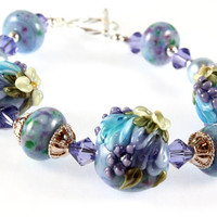 Lampwork Blue and Lavender Sterling Silver Bracelet, Tulips and Hyacinths