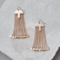 AEO GOLD METAL CHAIN DUSTER EARRINGS, Gold