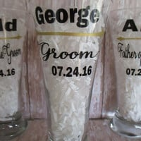 Wedding DIY Decal ONLY Glasses ~ Personalized Groomsman Glass ~  Best Man and Groomsmen Glasses ~ Craft Beer ~  Groomsmen Best Man Gift