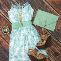 Fresh Flowers Dress: Mint