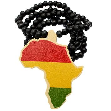 Black Multicolor Wooden Beaded Africa Map Necklace