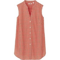 WOMEN CHECK SLEEVELESS BLOUSE