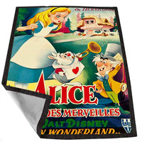 Vintage Disney Posters Alice In Wonderland 13fdb3c0-110f-449d-a2e3-f0387cecfb2e for Kids Blanket, Fleece Blanket Cute and Awesome Blanket for your bedding, Blanket fleece *02*