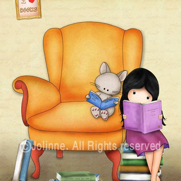 Children art prints, Kids room wall art , nursery decor, cute drawing print girl and cat reading books in a library (V2)