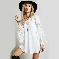 Chiffon Lace Embroidered Bell Sleeve A-Line Mini Dress - White/Black