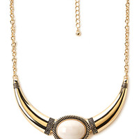 FOREVER 21 Exotic Crescent Necklace Ivory/Gold One