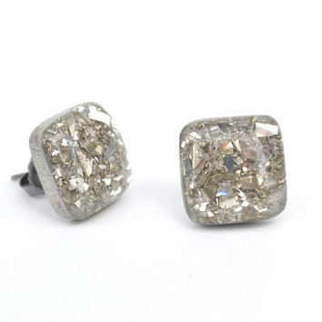 Glass glitter studs Sparkle studs Silver glitter square studs earrings gift for her wood earrings eco friendly unique for her