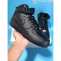 DCCK N519 Nike Air Force 1 AF1 High Velcro Casual Skate Shoes All Black