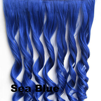 Sea Blue Ombre Colorful Candy 5 Clip in Hair Extensions 1Weft=5pcs Body Wave Texture Hair Synthetic Hair Extension High Quality Wig