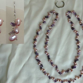 Pink Pearl and Amethyst Necklace and Earrings F009