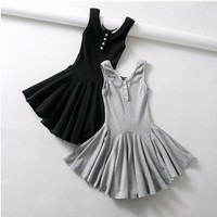 Women's thin chest front button cotton stretch Slim irregular solid color vest big swing skirt
