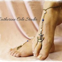 ANCHORS AWAY Barefoot sandals anklets foot jewelry destination wedding anchor Barefoot sandals beach wedding bridesmaid Catherine Cole BF14