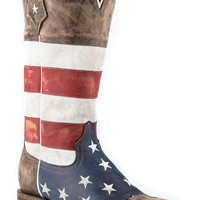 Roper Ladies Flags Boots American Flag Square Toe Brown Toe Cap