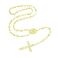 Rosary Necklace Cross Pendant Jesus Round Cut 14K Gold Finish
