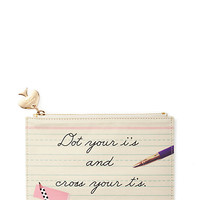 Kate Spade Dot Your I's And Cross Your T's Pencil Pouch Set White ONE