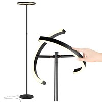 Brightech Halo Split - Modern LED Torchiere Floor Lamp, For Offices - Bright Standing Pole Light - Tall, Dimmable Uplight for Reading In Your Bedroom or Living Room - Jet Black