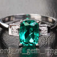 Oval Emerald Engagement Ring Pave Diamond Wedding 14k White Gold