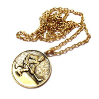 Vintage Hockey Necklace, Gold Chain Pendant