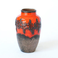 West German Pottery Vase, Scheurich 549-27, 'Lora' Decor, 1970s, Fat Lava Vase, Red Black Zig Zag Pattern, Made in Germany, Retro Vase