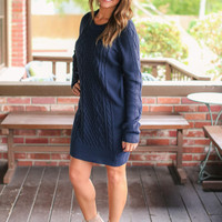 Cable Knit Sweater Dress - Navy