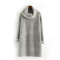 Grey Turtleneck Knitted Mini Straight Dress