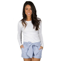Lauren James Seersucker Bow Shorts in Royal Blue - Brother's on the Boulevard