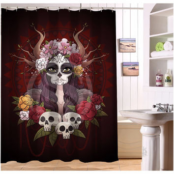 U419-71 Custom Home Decor  Cool Pirate And Skull  Fabric Modern Shower Curtain European Style bathroom Waterproof  WJY1