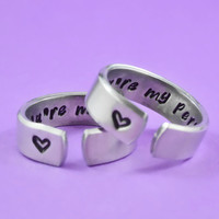 you're my person - Hand Stamped Aluminum Cuff Rings Set, Grey's Anatomy Inspired, Love And Friendship Rings,  Secret Message Rings