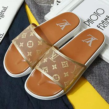 Louis Vuitton LV summer new women's flat bottom low-heel breathable mesh slippers shoes