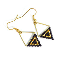 Black and Gold Drop Earrings - Megan Petersen Jewelry