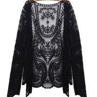 Vintage Lace Embroidery Floral Crochet Women Long Sleeve Cardigan
