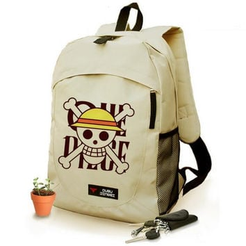 One Piece Luffy Print Backpack Canvas Backpacks 2016 New Skull Print Anime School Bags Free Shipping